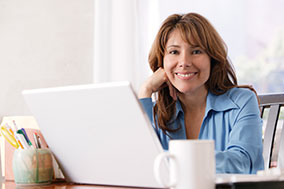 Woman happy working